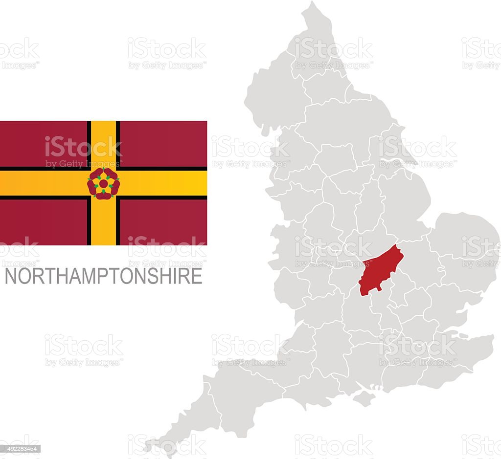 Flag of Northamptonshire and location on England map vector art illustration