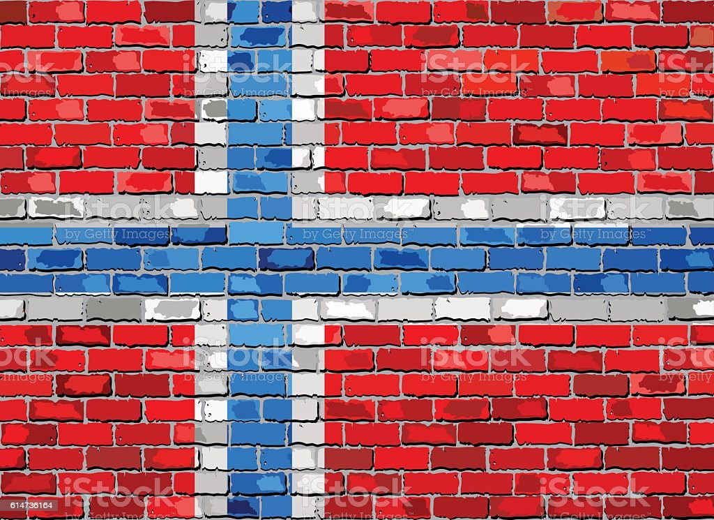 Flag of Norway on a brick wall vector art illustration