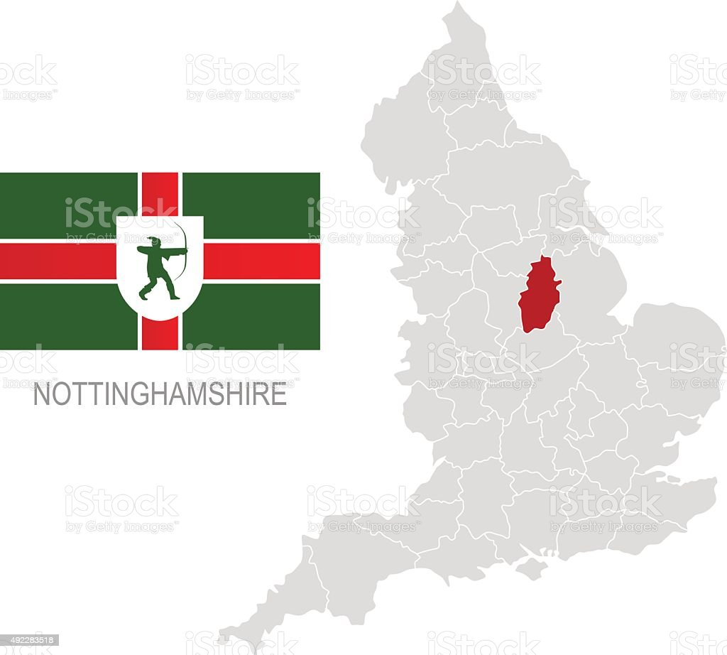 Flag of Nottinghamshire and location on England map vector art illustration