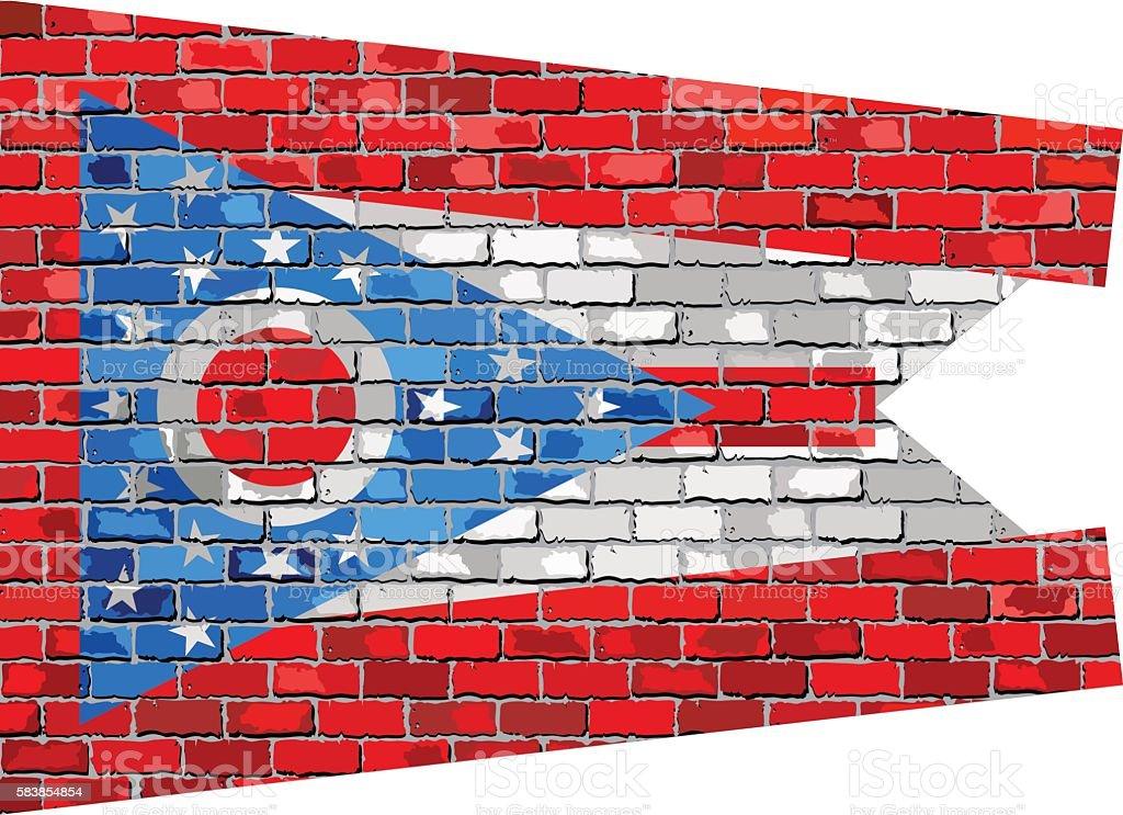 Flag of Ohio on a brick wall vector art illustration
