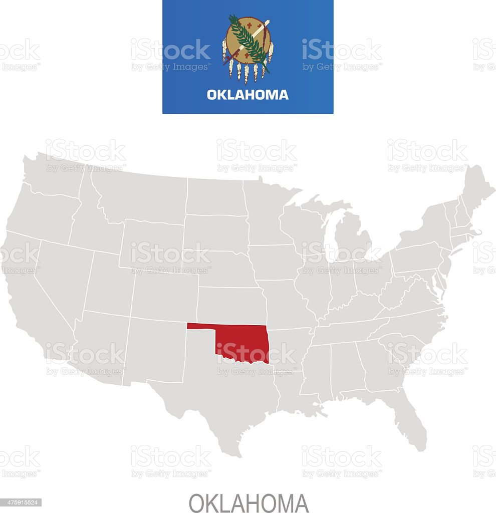 Flag Of Oklahoma And Location On Us Map Stock Vector Art - Where in the us map is oklahoma located