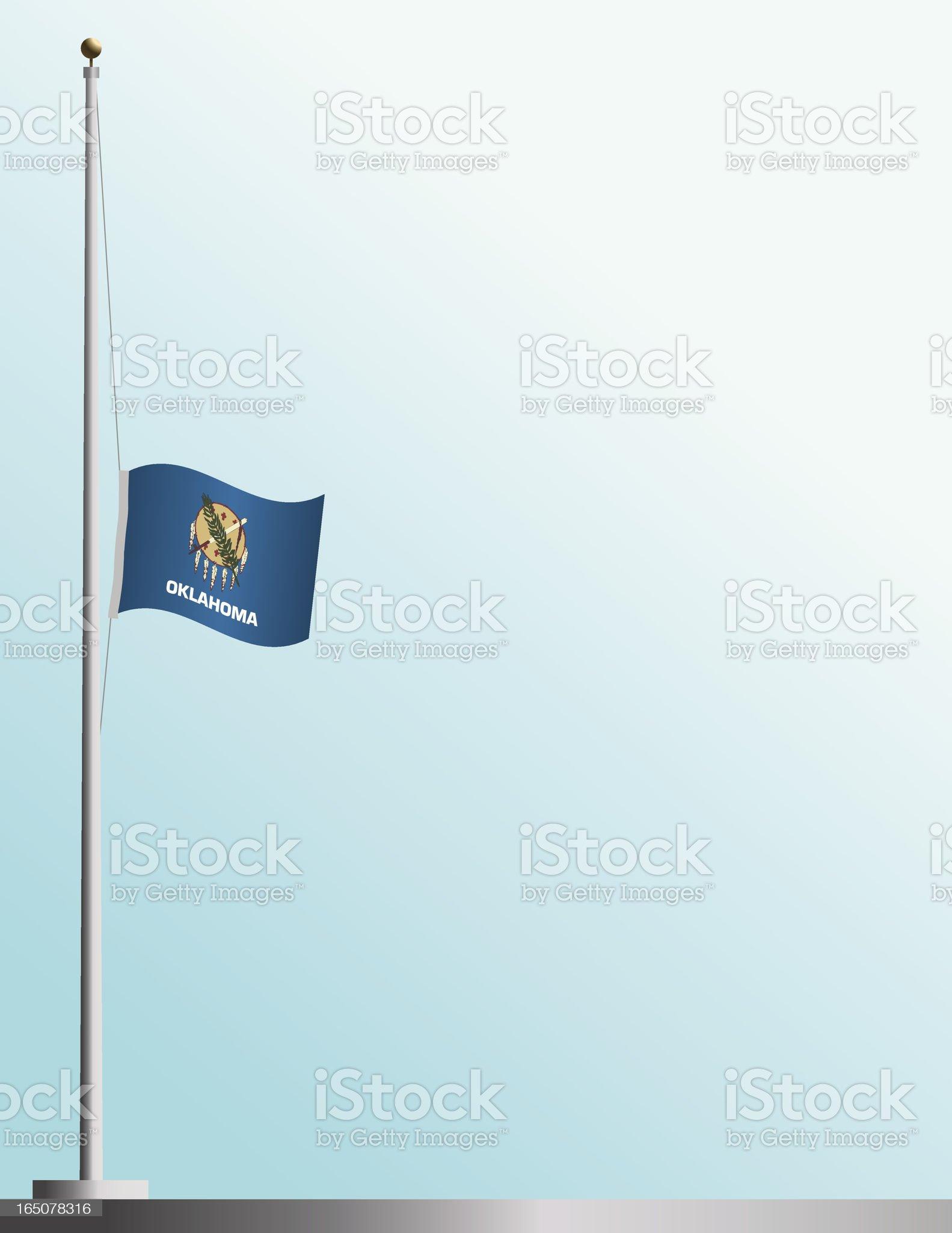 Flag of Oklahoma at Half-Staff royalty-free stock vector art