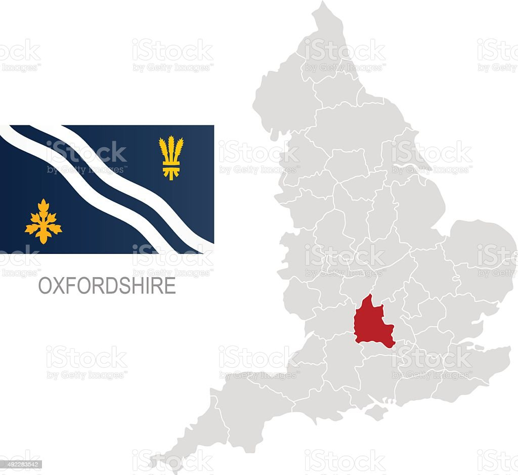 Flag of Oxfordshire and location on England map vector art illustration