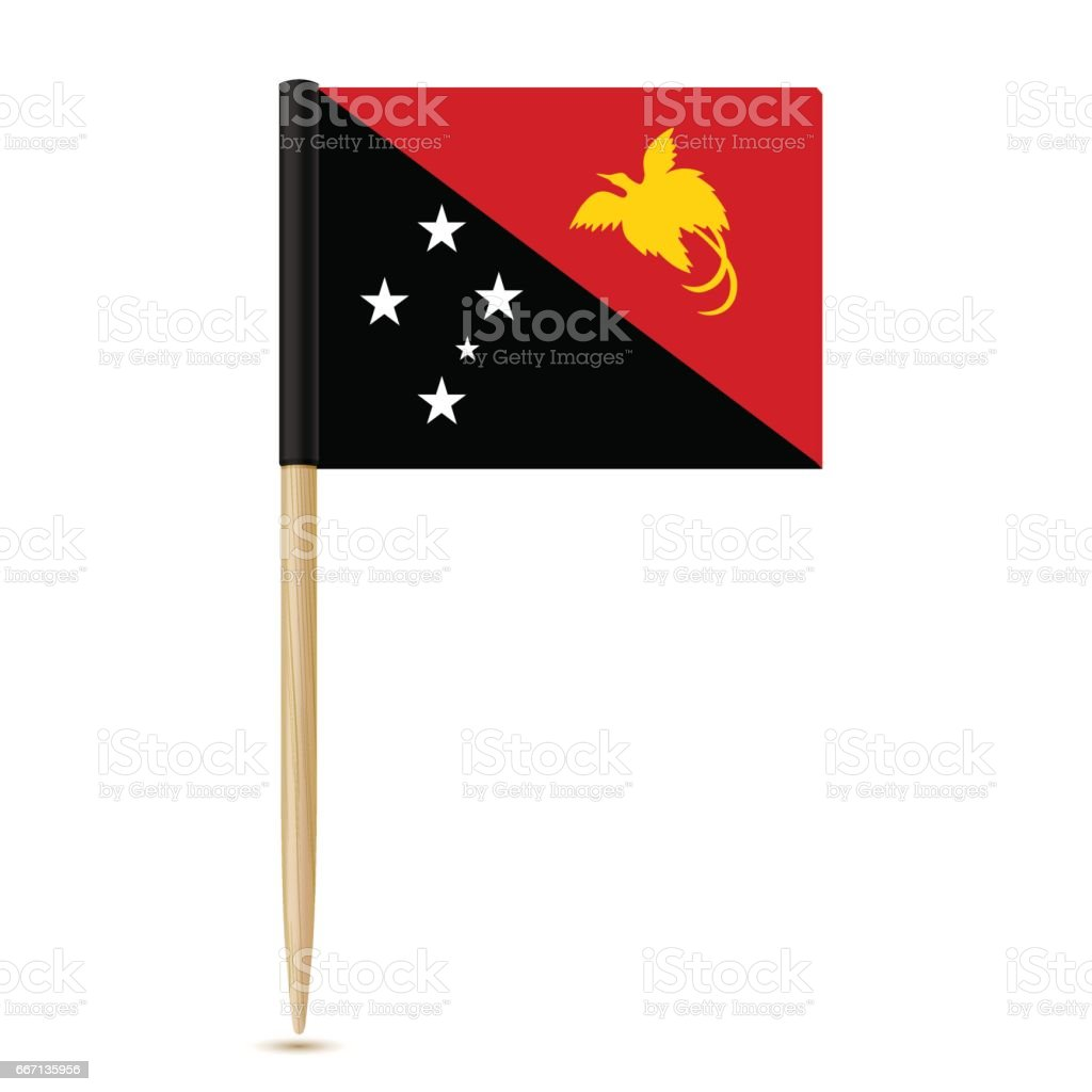 Flag of Papua New Guinea. Flag toothpick 10eps vector art illustration