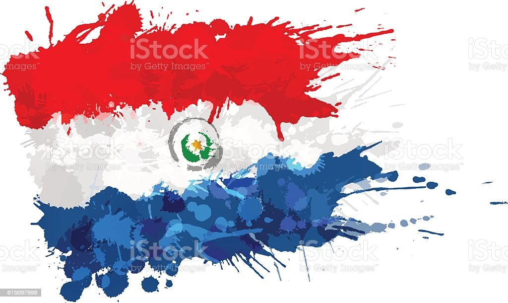 Flag of  Paraguay made of colorful splashes vector art illustration