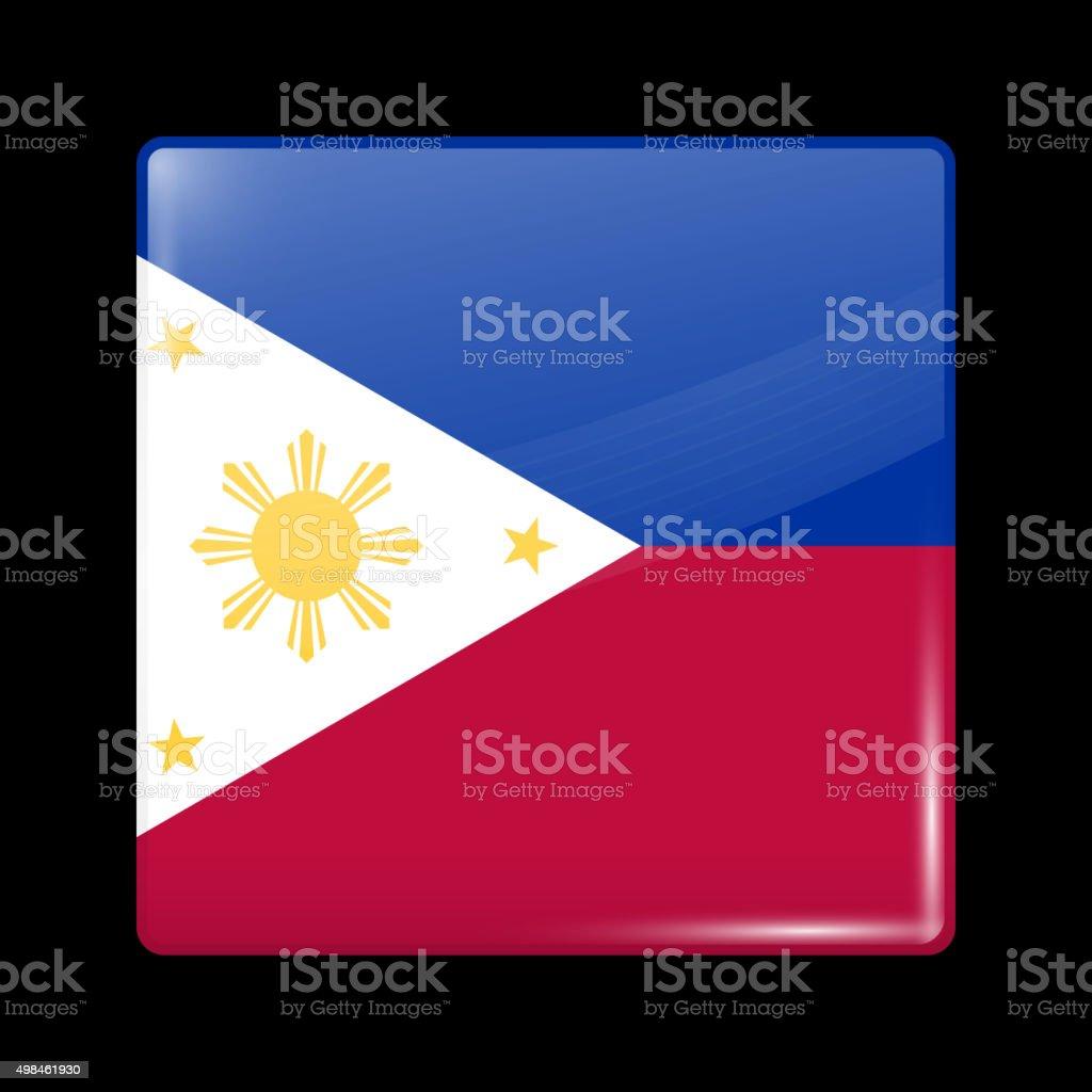 Flag of Philippines. Glassy Icon Square Shape vector art illustration