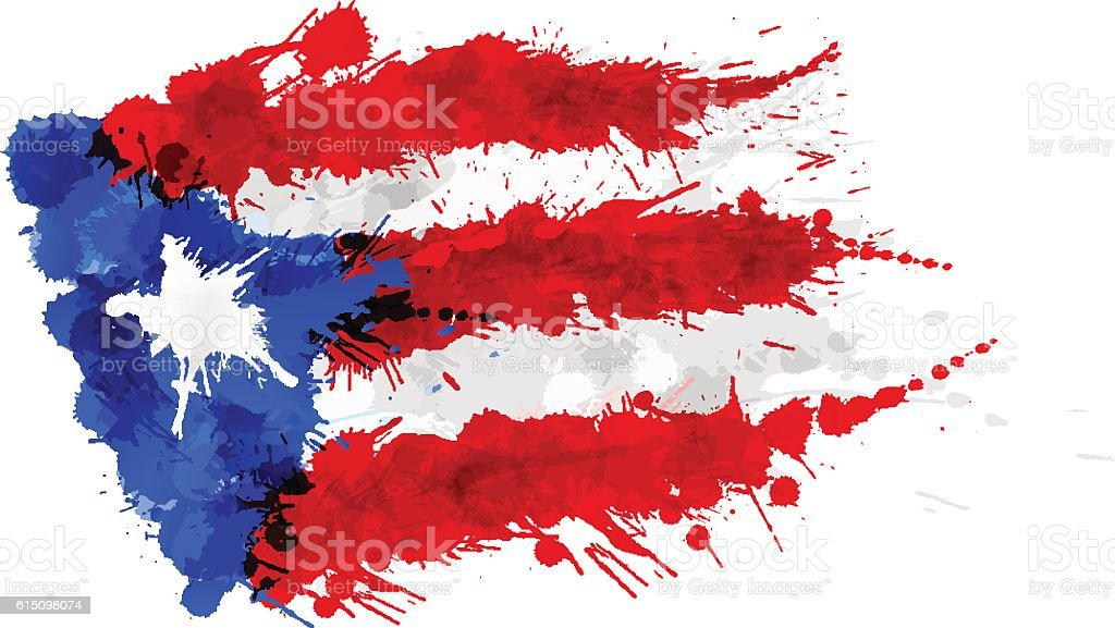Flag of  Puerto Rico made of colorful splashes vector art illustration