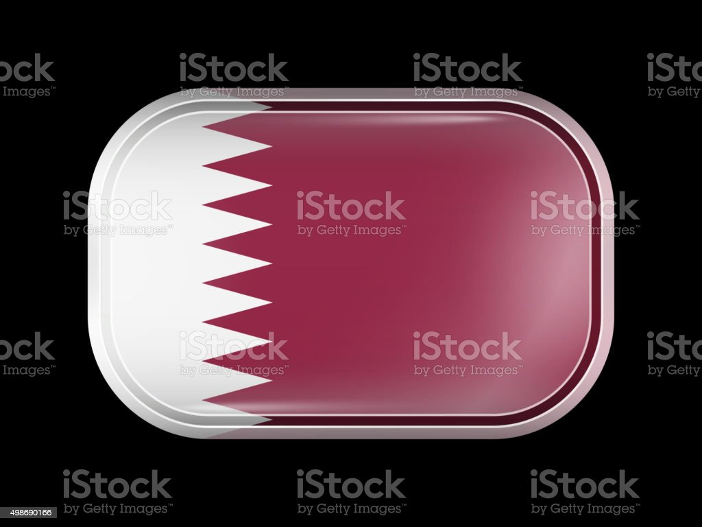 Flag of Qatar. Rectangular Shape with Rounded Corners vector art illustration