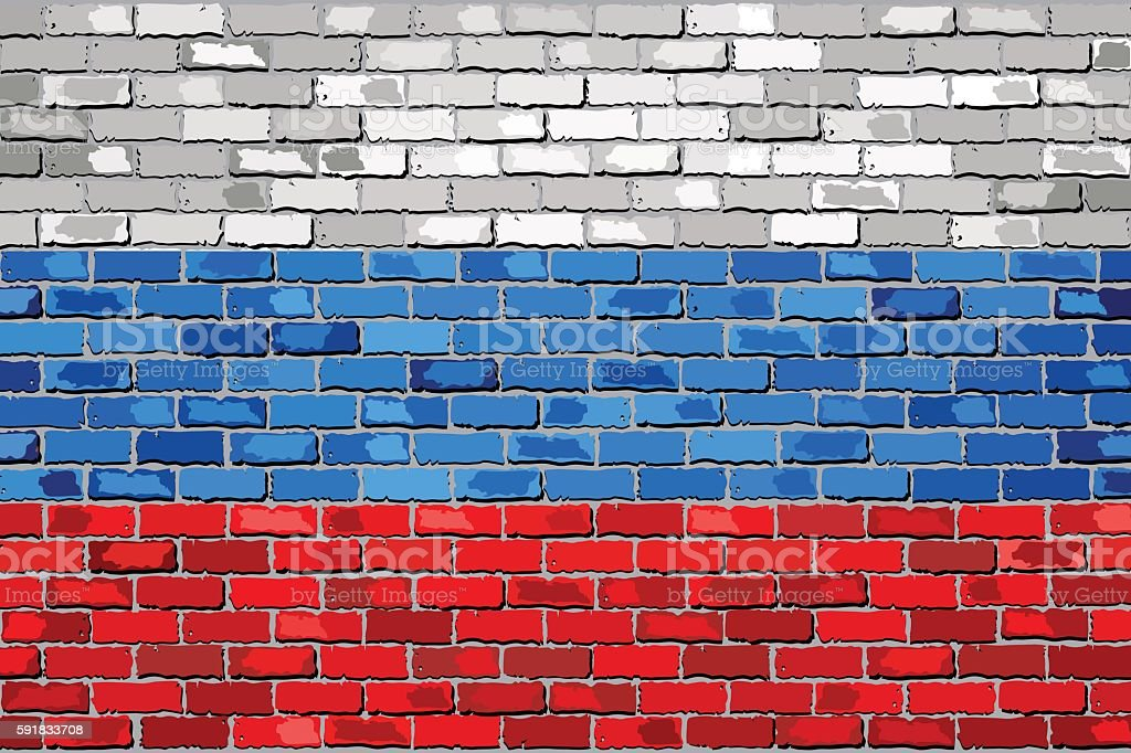 Flag of Russia on a brick wall vector art illustration