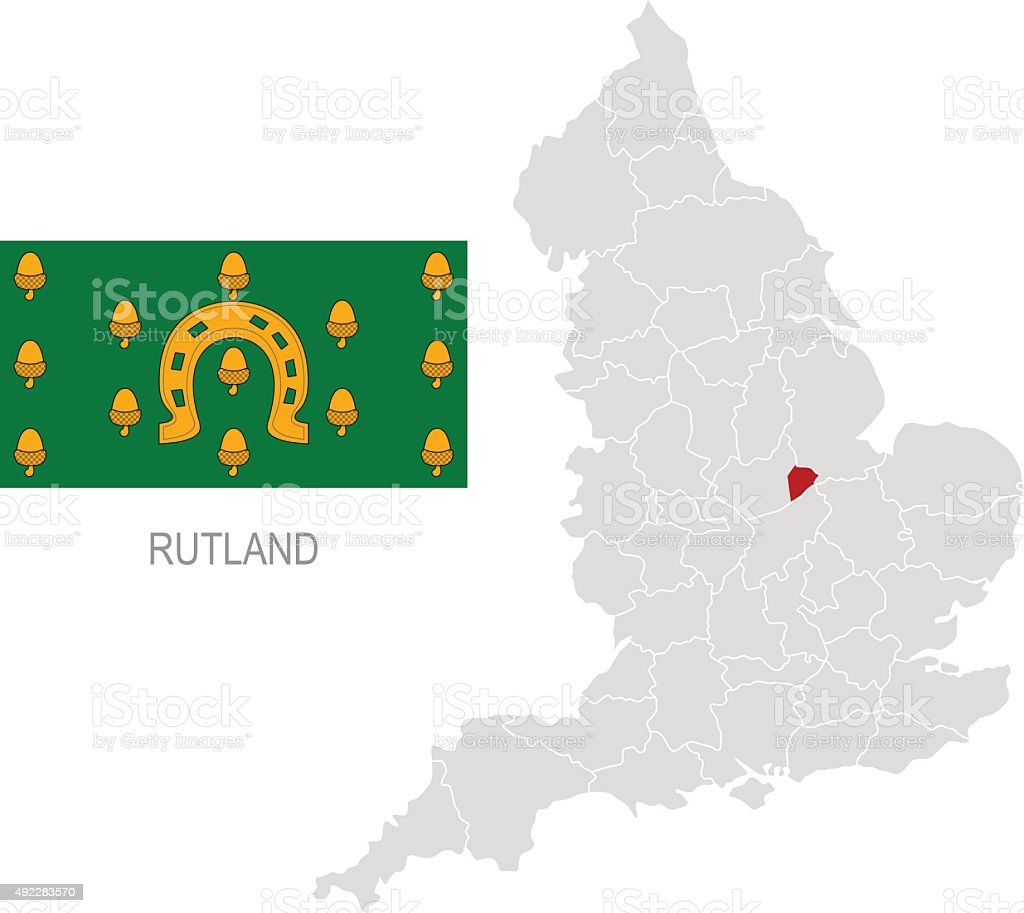 Flag of Rutland and location on England map vector art illustration