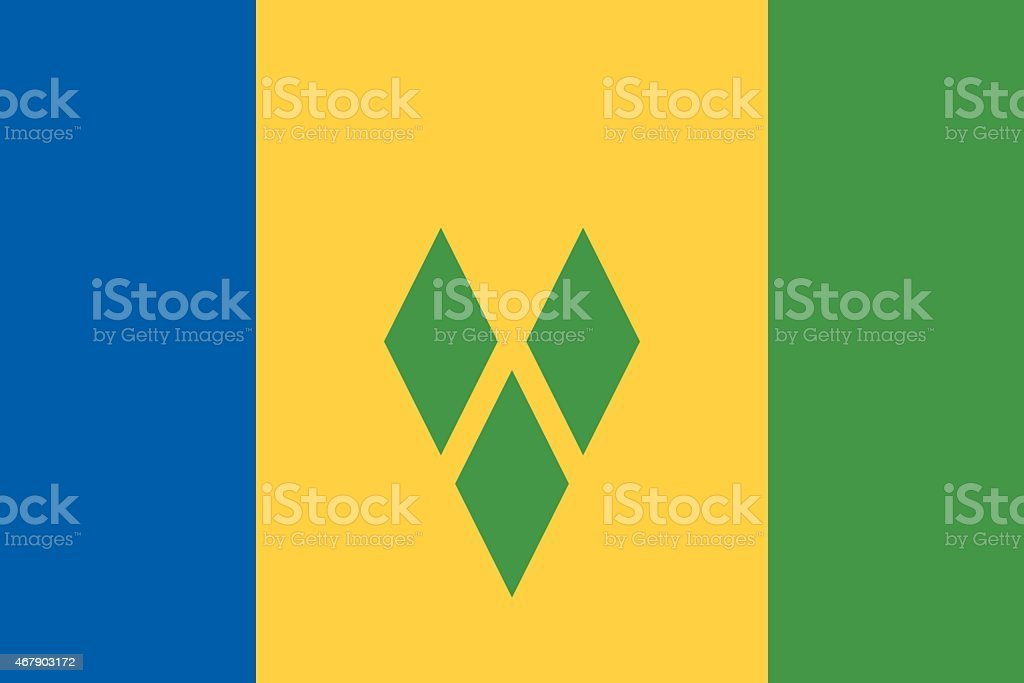 Flag of Saint Vincent and the Grenadines vector art illustration