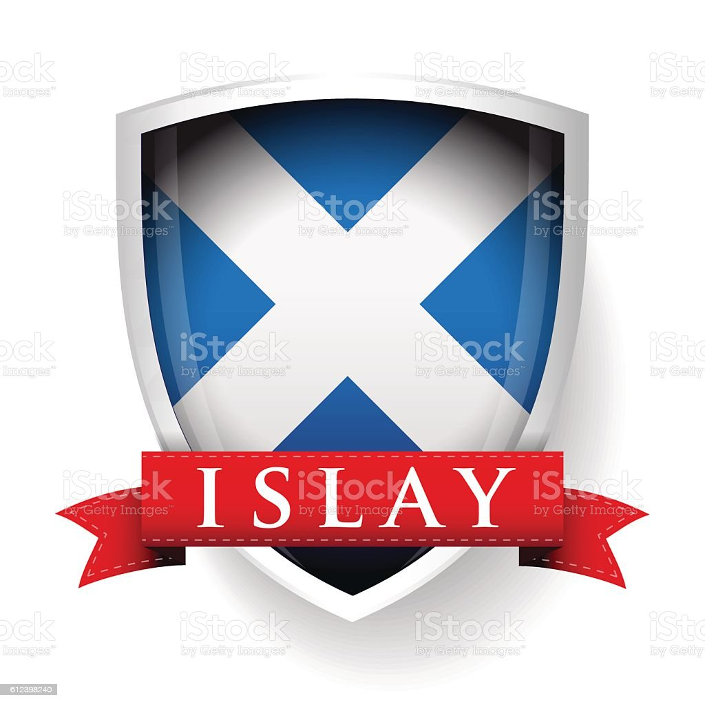 Flag of Scotland with Islay sign on ribbon vector art illustration