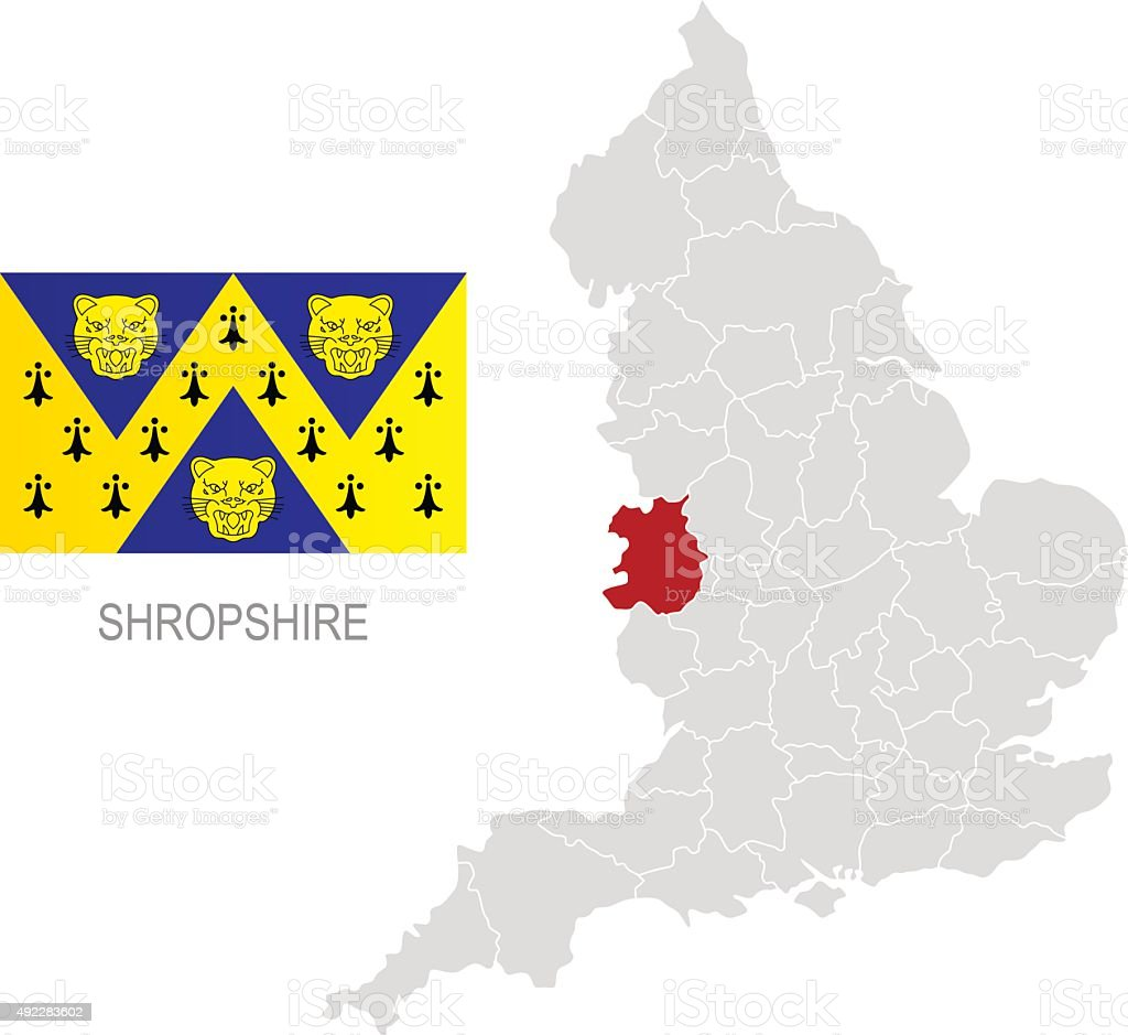 Flag of Shropshire and location on England map vector art illustration