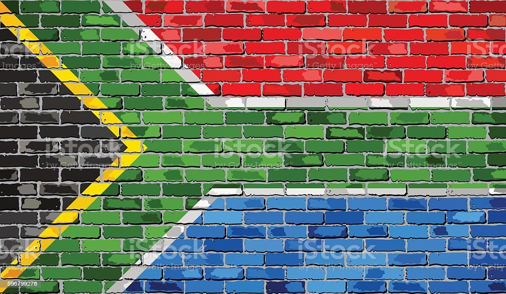 Flag of South Africa on a brick wall vector art illustration