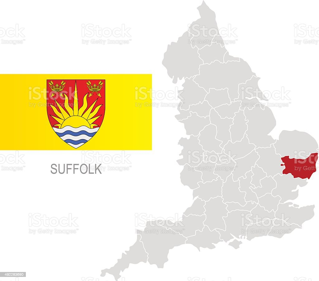 Flag of Suffolk and location on England map vector art illustration