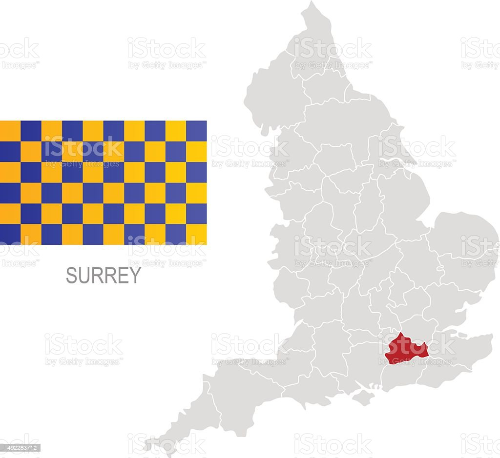 Flag of Surrey and location on England map vector art illustration