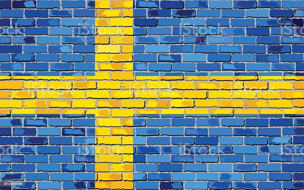 Flag of Sweden on a brick wall vector art illustration
