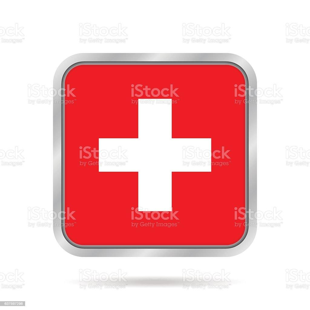 Flag of Switzerland. Metallic gray square button. vector art illustration