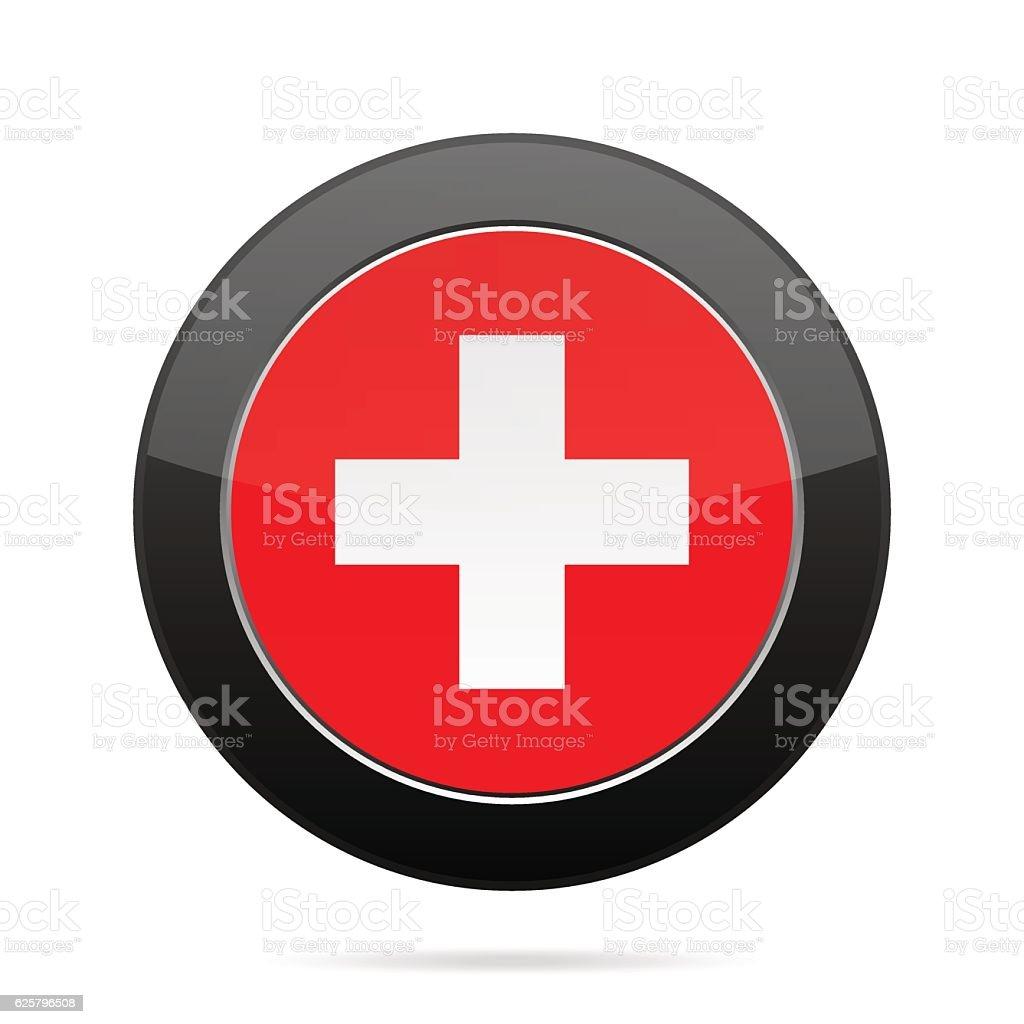 Flag of Switzerland. Shiny black round button. vector art illustration