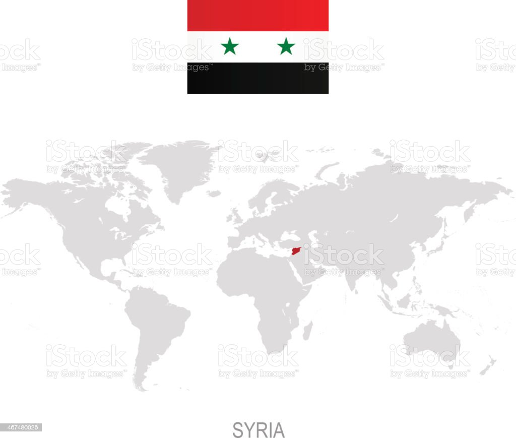 Flag Of Syria And Designation On World Map stock vector art – Syria Map World