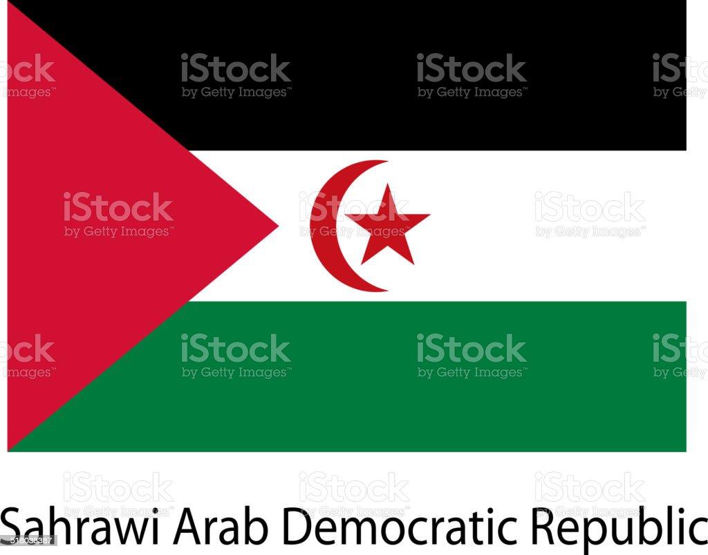 Flag  of the country  sahrawi arab democratic republic. Vector i vector art illustration