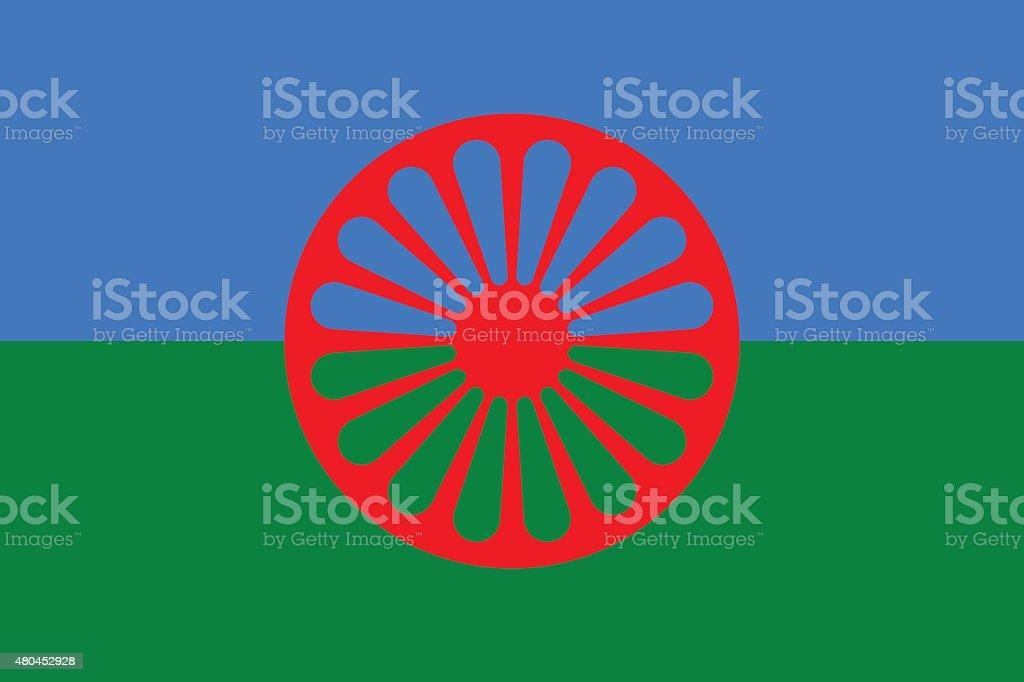 Flag of the Romani people vector art illustration