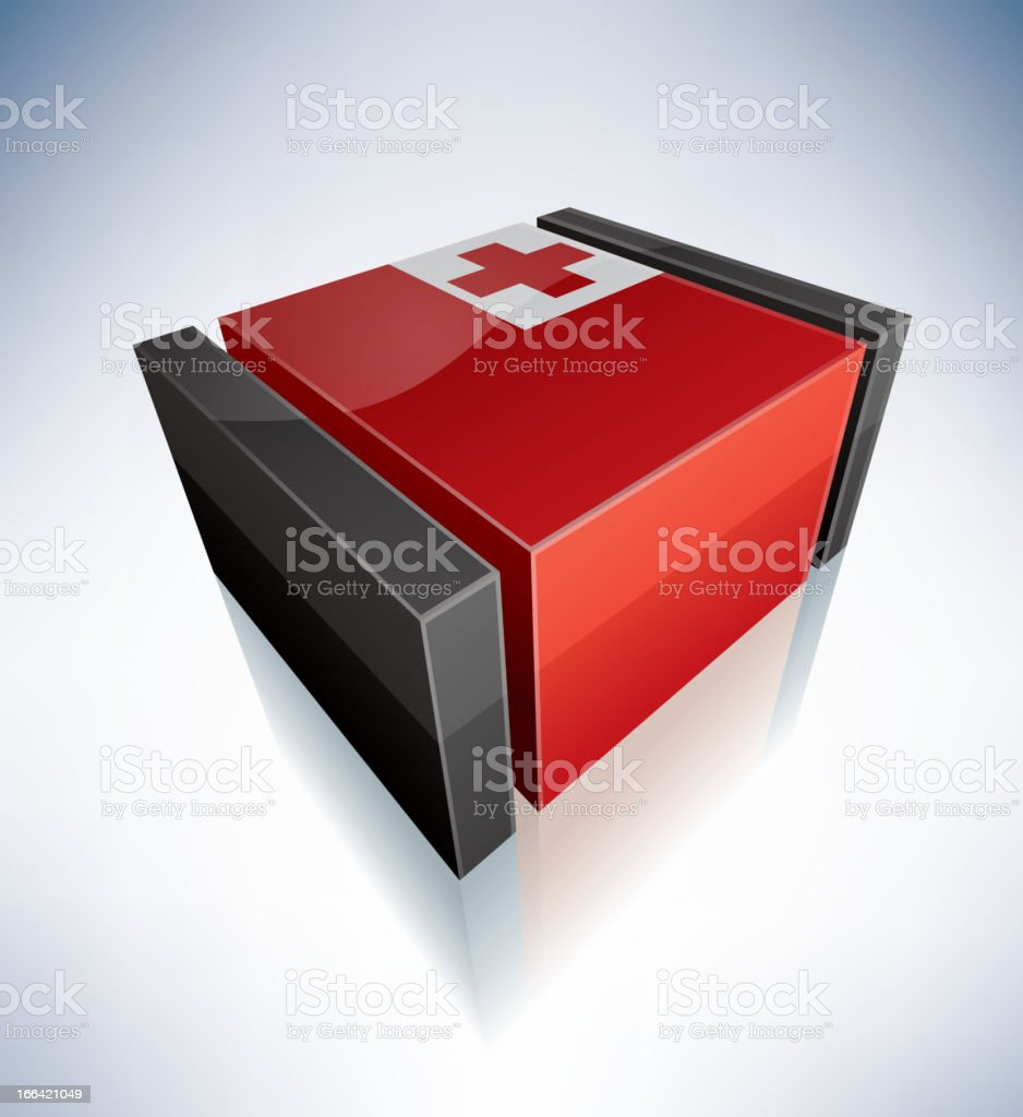 3D flag of Tonga royalty-free stock vector art