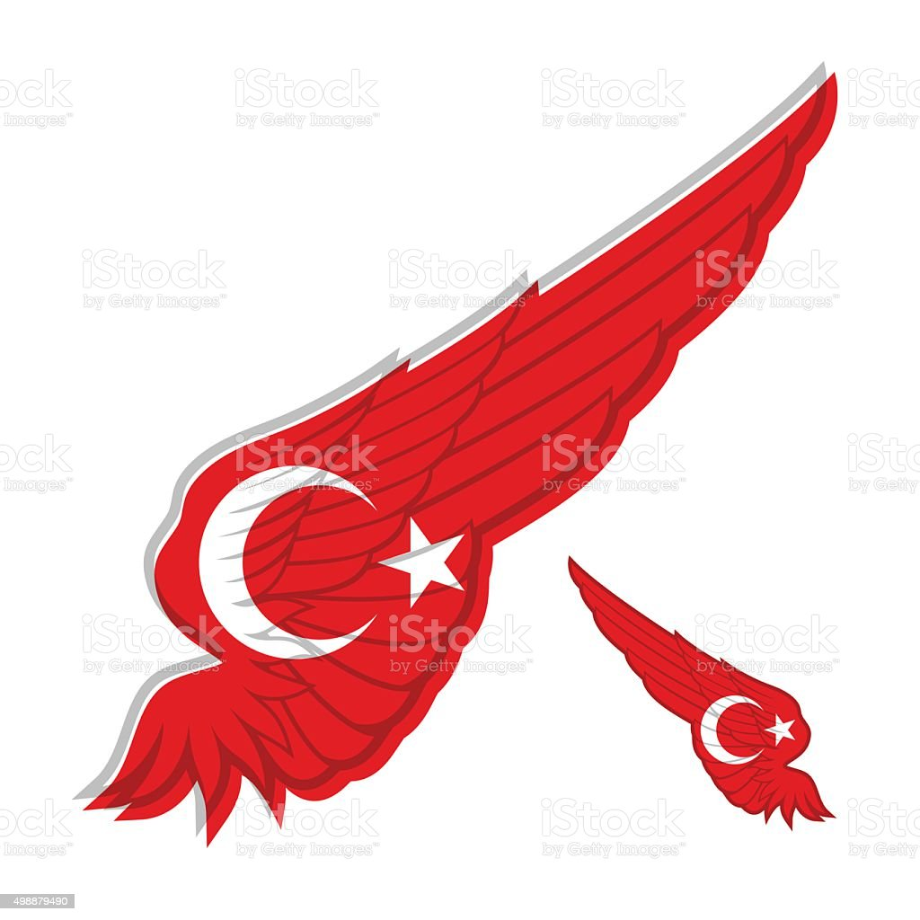 flag of Turkey on abstract Wing and white background. Vector vector art illustration