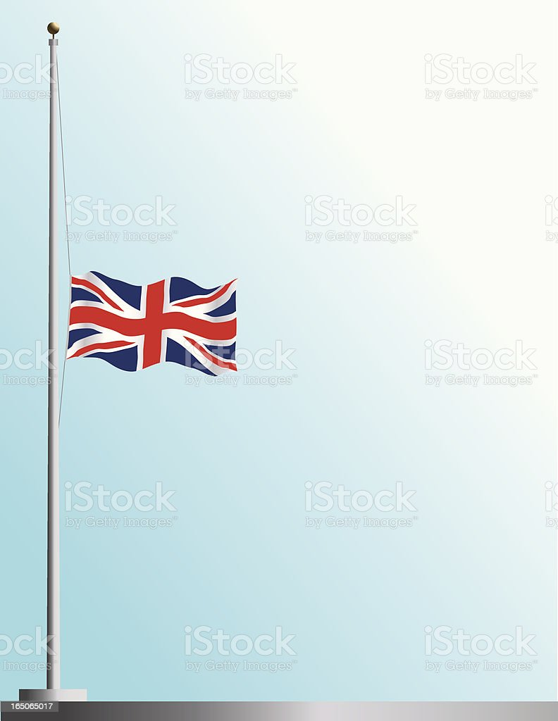 Flag of UK at Half Staff vector art illustration