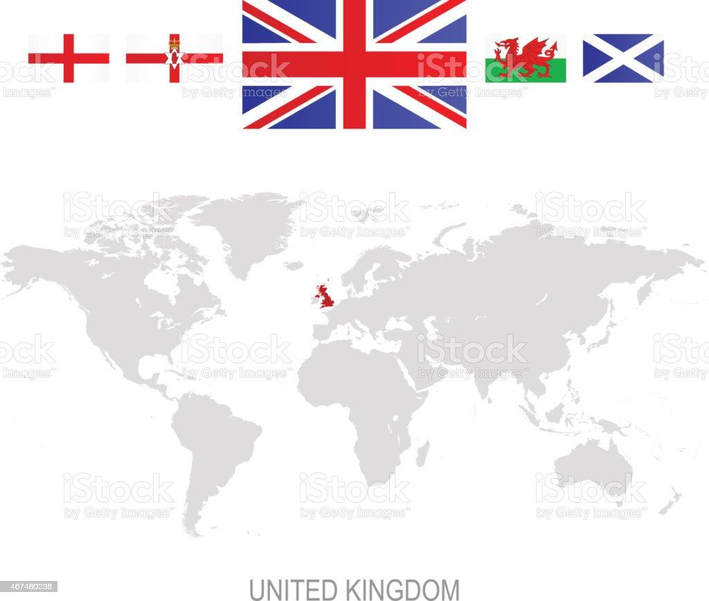 Flag of United Kingdom and designation on World map vector art illustration