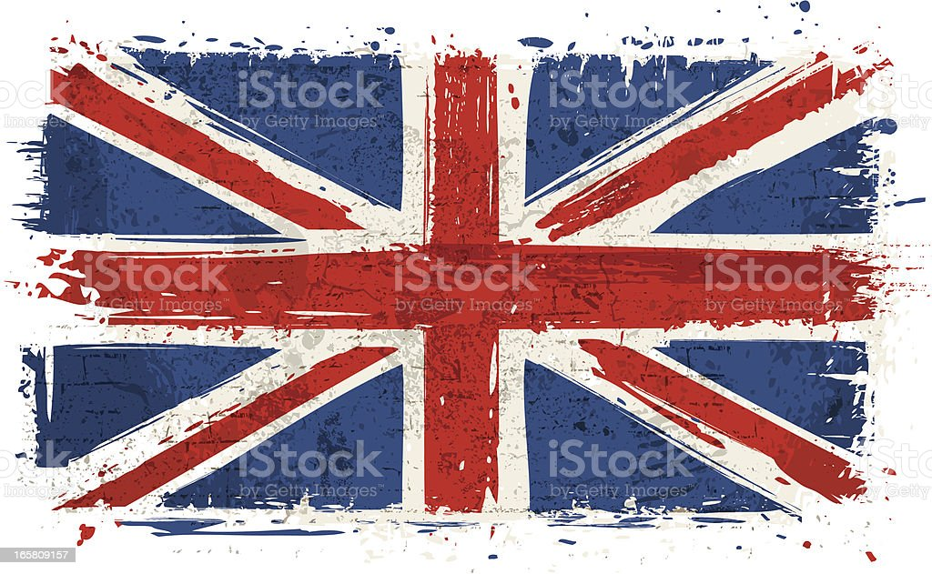 Flag of United Kingdom on Wall vector art illustration