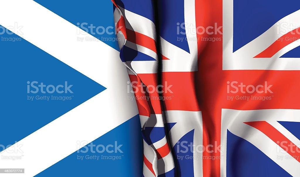 Flag of United Kingdom over the scotland flag. vector art illustration