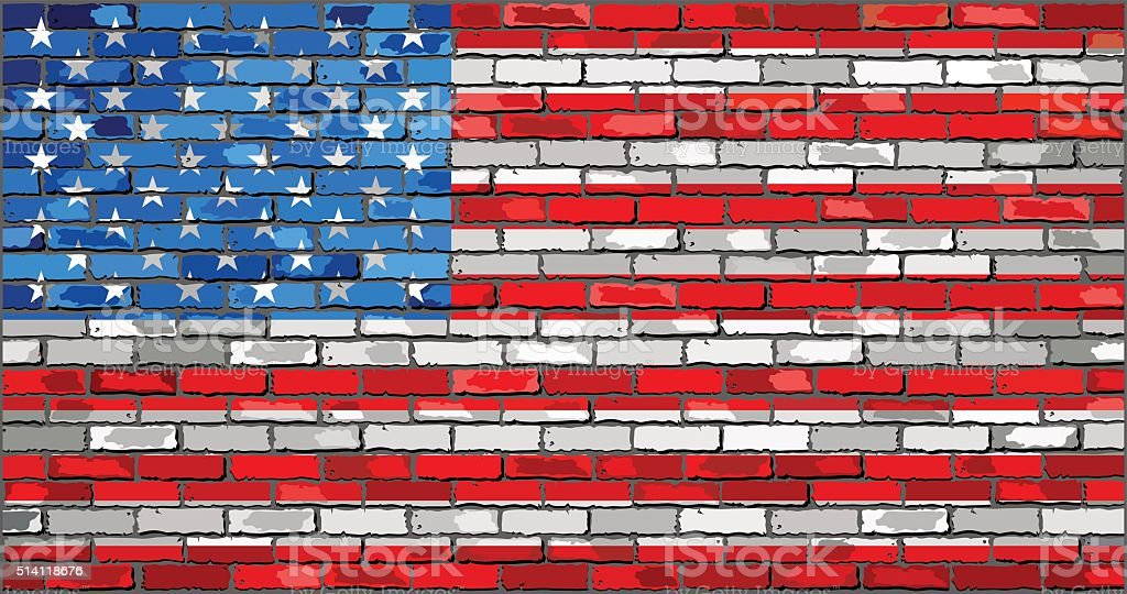 Flag of USA on a brick wall vector art illustration