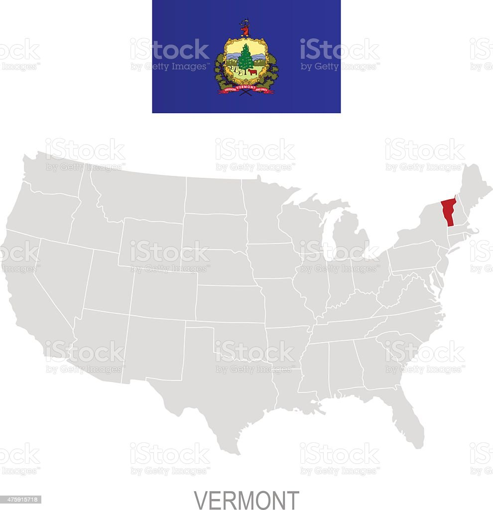 Flag Of Vermont And Location On Us Map Stock Vector Art - Us map vermont