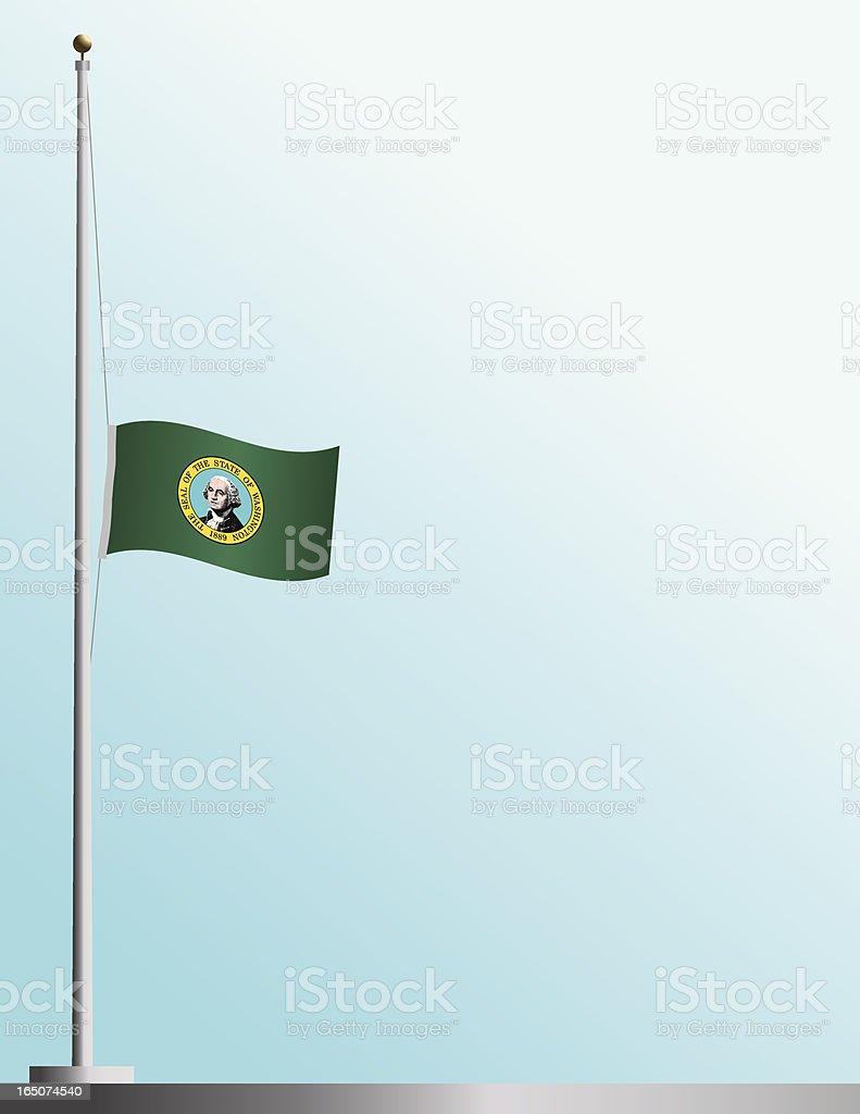 Flag of Washington State at Half-Staff vector art illustration