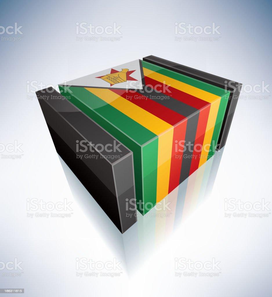3D flag of Zimbabwe royalty-free stock vector art