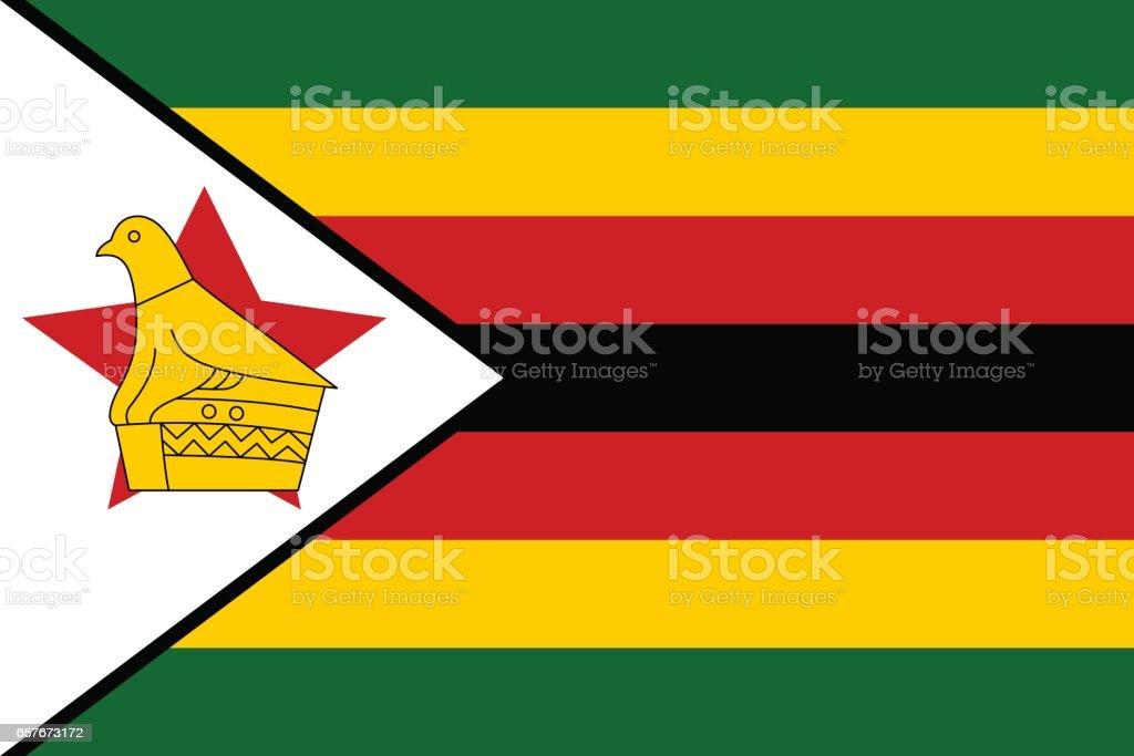 Flag of Zimbabwe vector art illustration