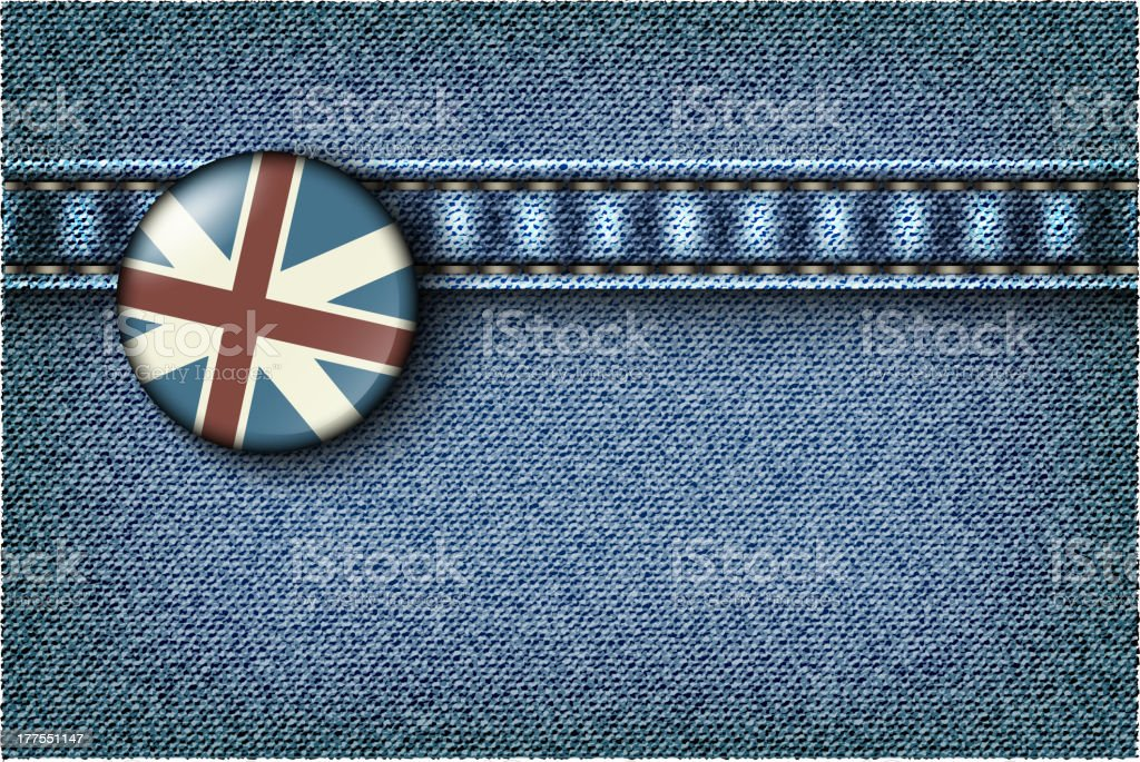UK flag on jeans royalty-free stock vector art