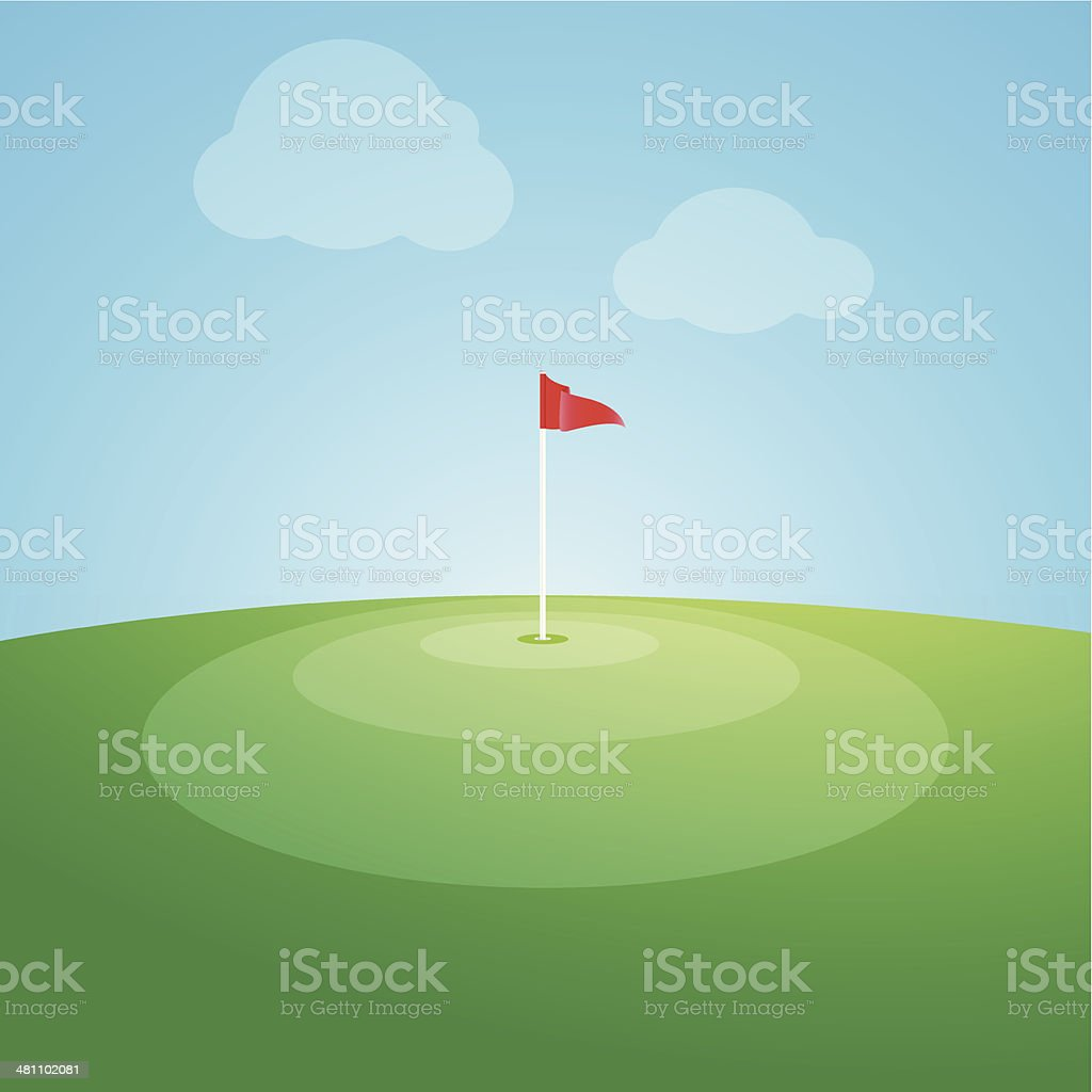 Flag on the golf course vector illustration royalty-free stock vector art