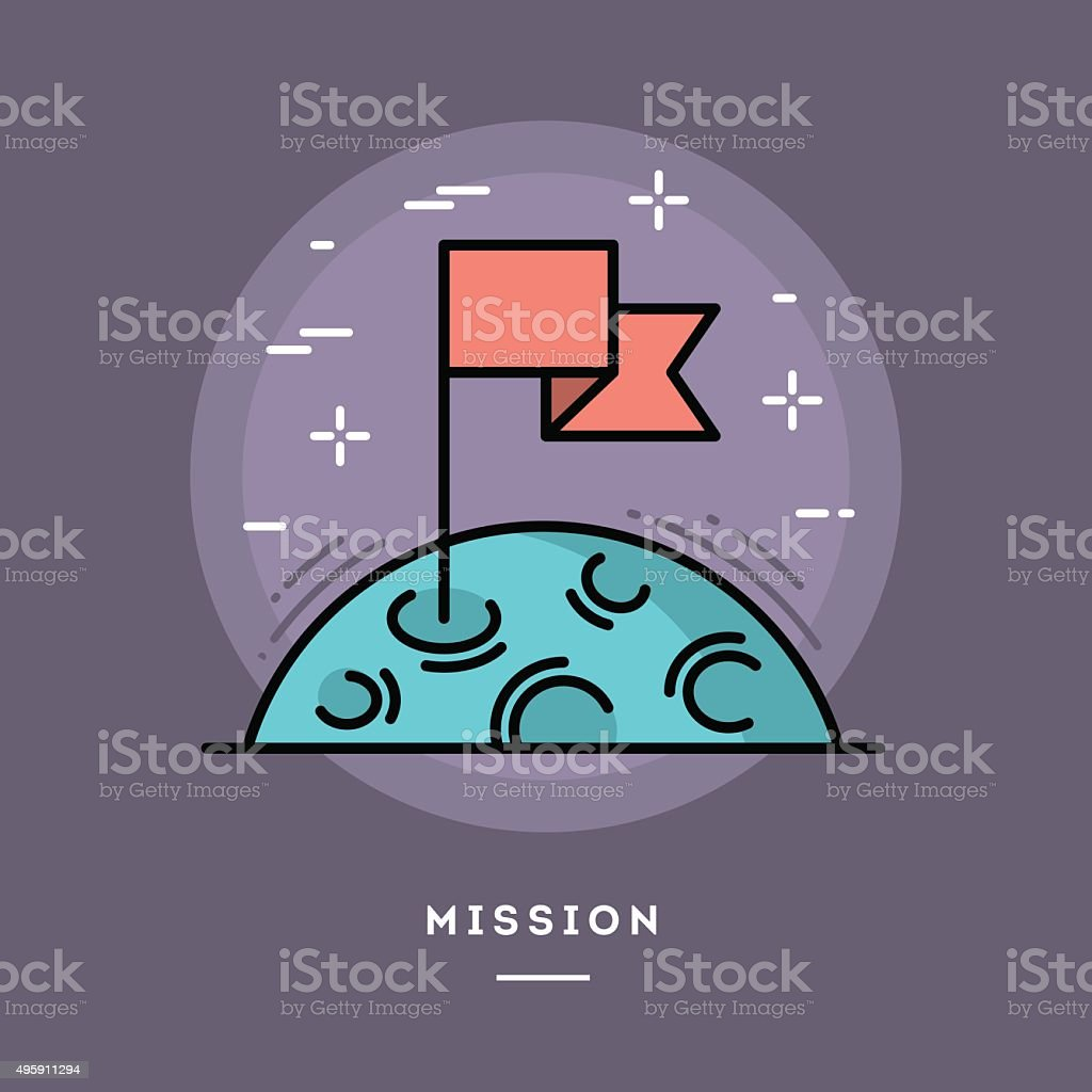 Flag on the moon as a metaphor for business mission vector art illustration