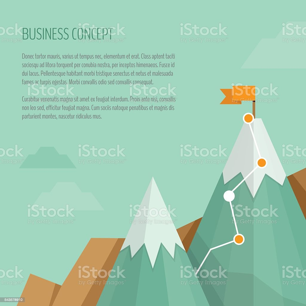 Flag on the mountain. Business concept, goal achievement, success, winning. vector art illustration