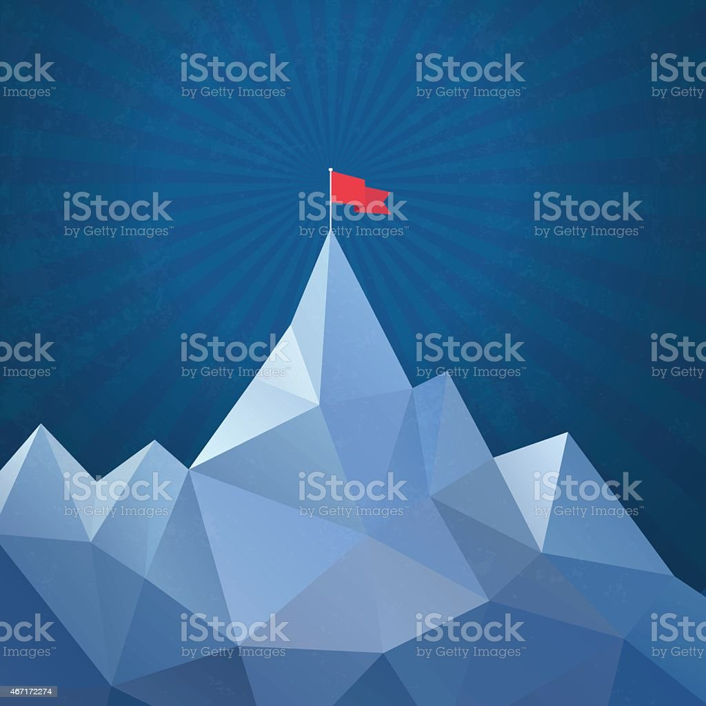 Flag on the top of mountain - Vector vector art illustration