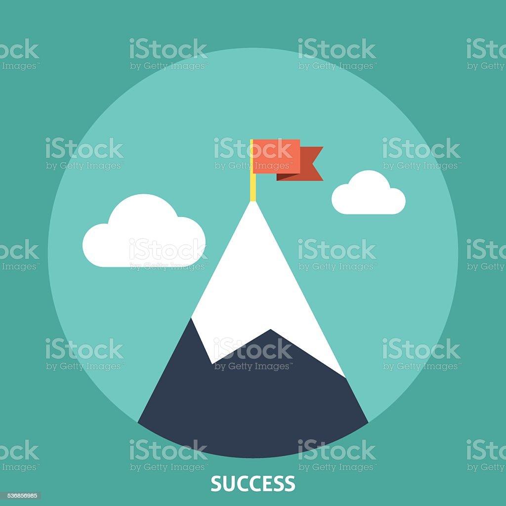 Flag on Top vector art illustration
