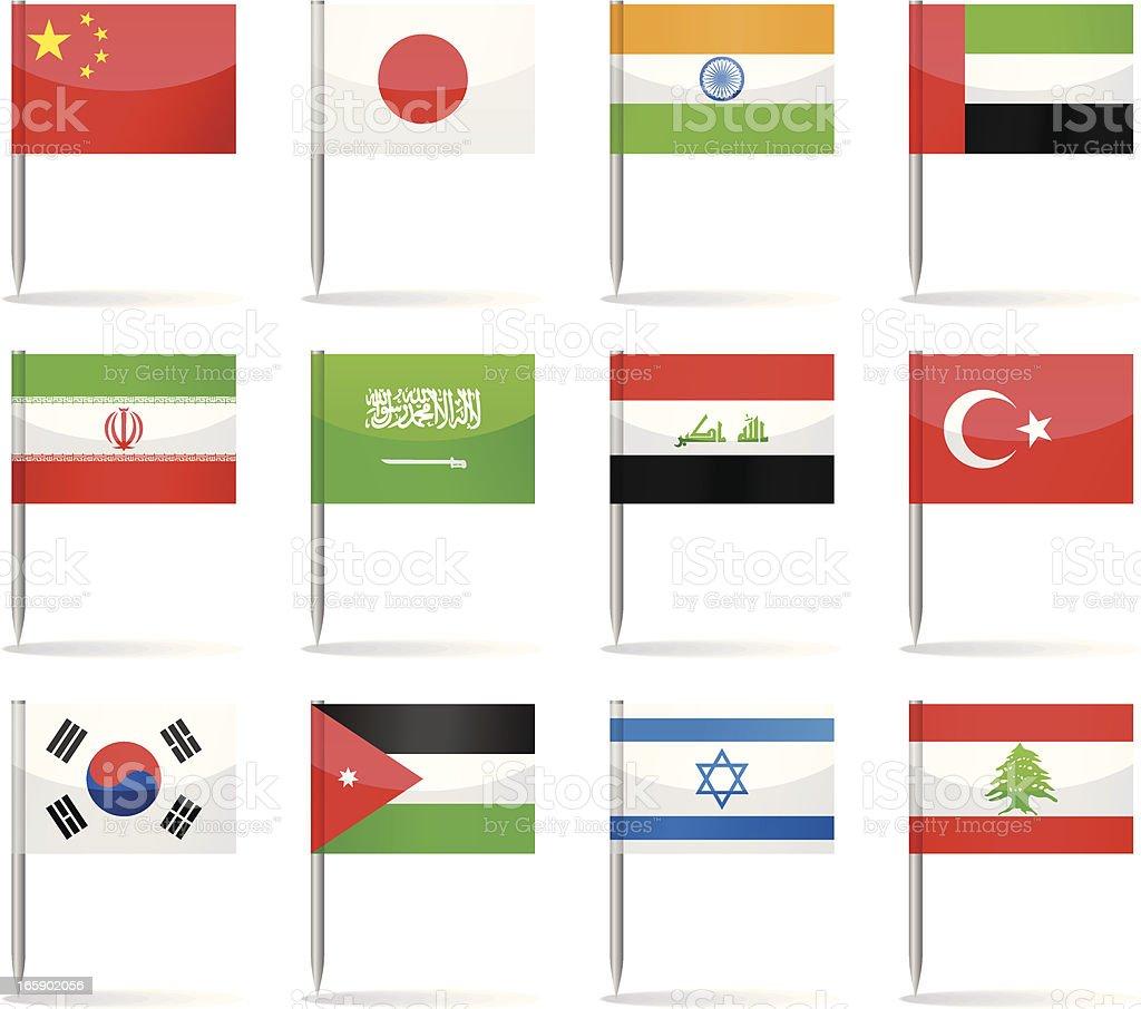 Flag pins - Asia vector art illustration