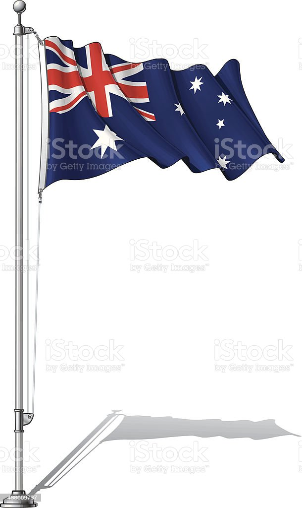 Flag Pole Australia vector art illustration