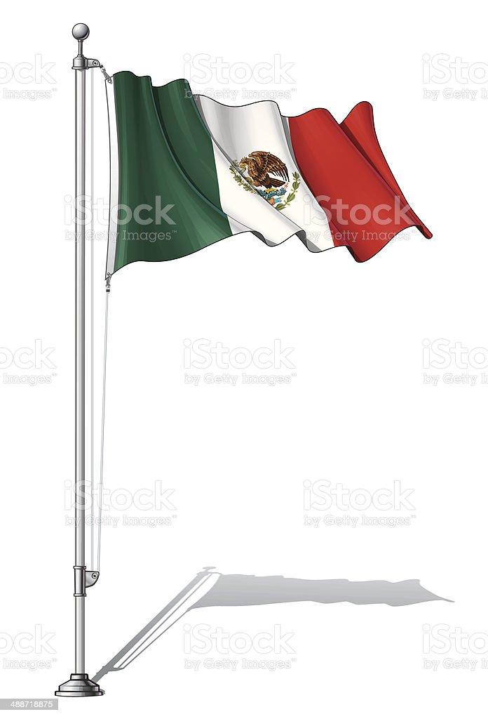 Flag Pole Mexico vector art illustration