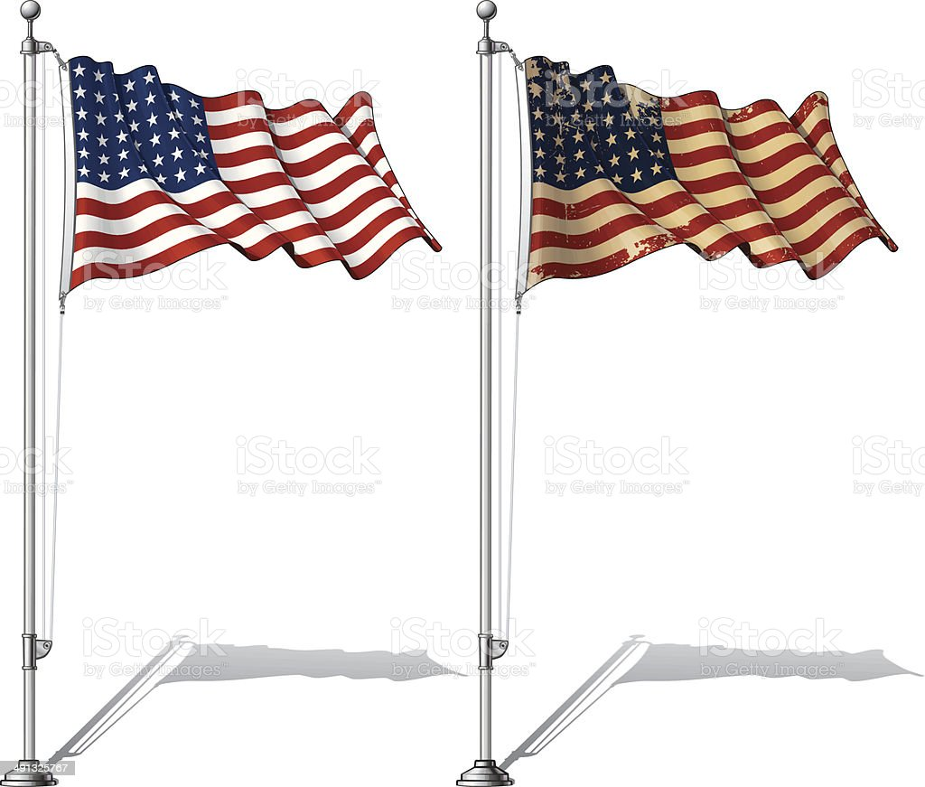 Flag Pole US WWI-WWII (48 stars) Ensign royalty-free stock vector art