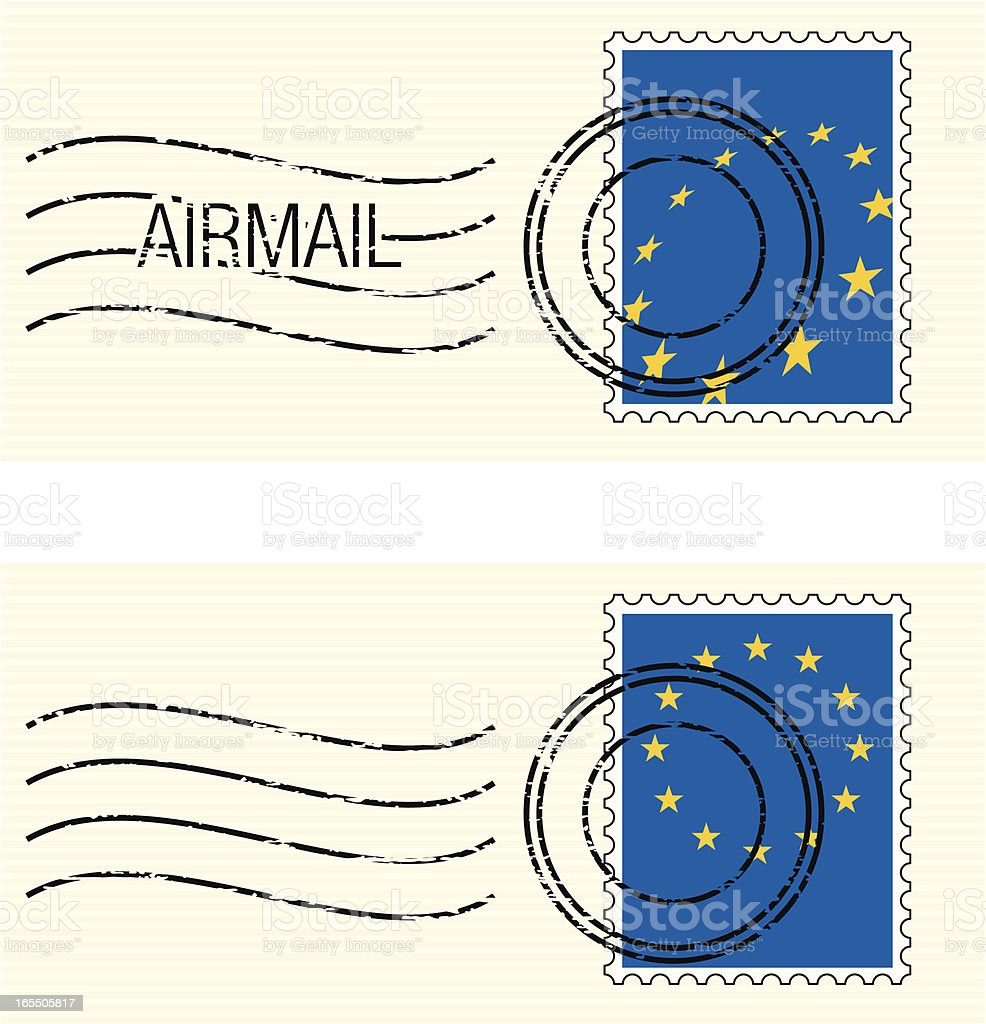 EU Flag Postage stamp royalty-free stock vector art