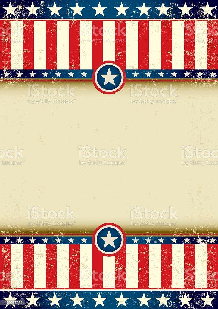 US flag scratched vector art illustration