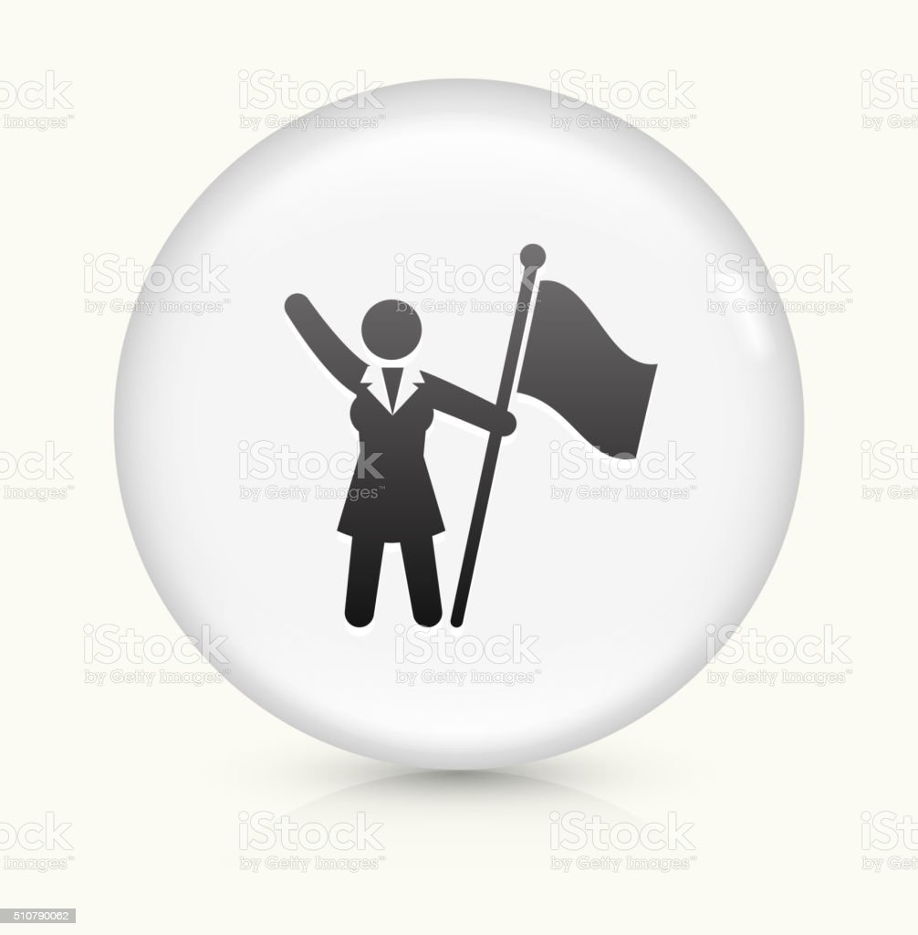 Flag Stick figure icon on white round vector button vector art illustration